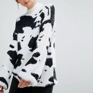 ASOS Fuzzy Cow Sweater Mock Neck Jumper by Elk